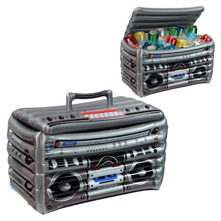 Inflatable Boom Box (Pack of 6 Gray and Black Inflatable 80's Boom Box Cooler 16