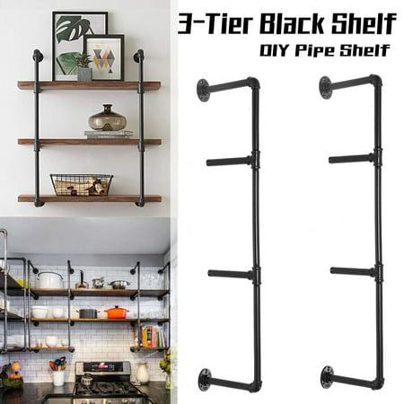 2PCS Industrial Black Pipe Kitchen Storage Shelf Bracket Ceiling Mount/Floor Mount Pipe Shelf Bracket (Floor To Ceiling Pole Shelves)