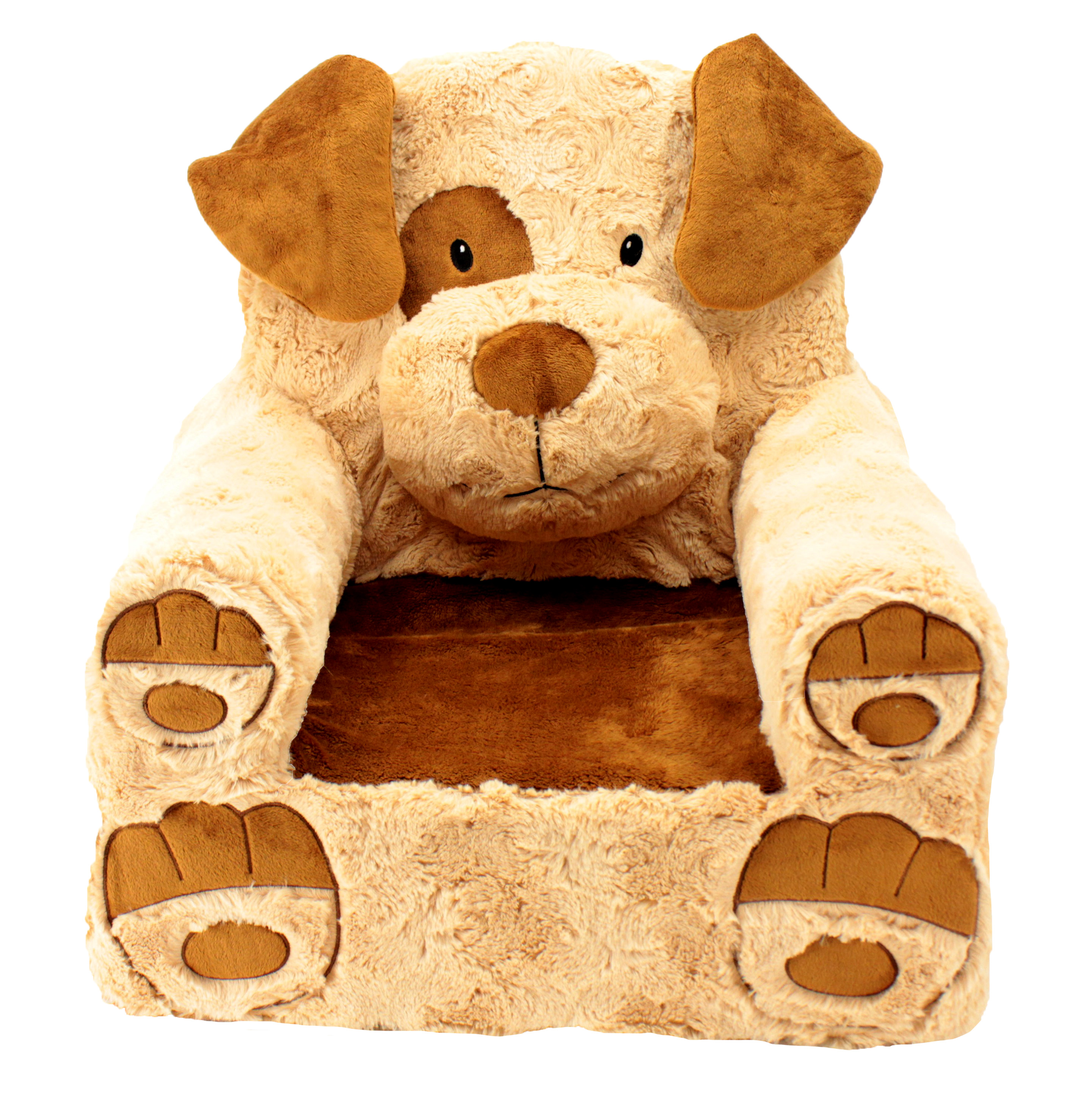 "Sweet Seats Adorable Tan & Brown Dog Children's Chair, Machine Washable Removable Cover, 13""L x 18""W x 19""H"