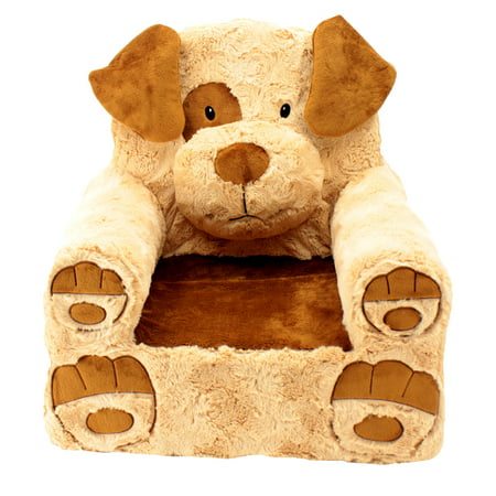 Sweet Seats Adorable Tan & Brown Dog Children's Chair, Standard Size, Machine Washable Removable Cover, 13