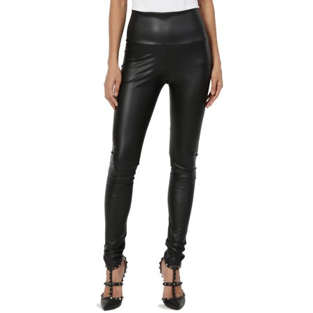 TheMogan Women's S~3X Biker Faux Leather High Waisted Full Ankle - Biker Leggings