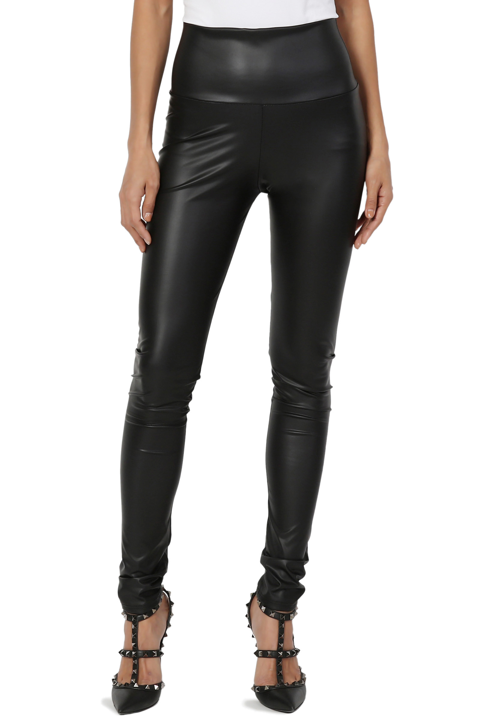 TheMogan Women's S~3X Biker Stretch Faux Leather High Waisted Full Ankle Leggings