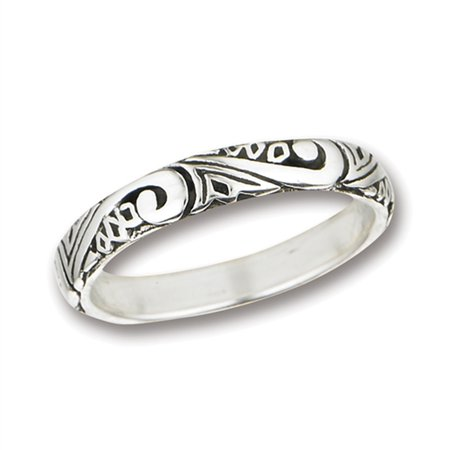 - Swirl Scroll Wedding Thumb Ring ( Sizes 6 7 8 9 ) .925 Sterling Silver Stackable Band Rings by Sac Silver (Size 9)