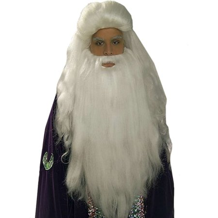 Deluxe Long White Dumbledore Merlin Sorcerer Santa Claus Costume Wig Beard Set