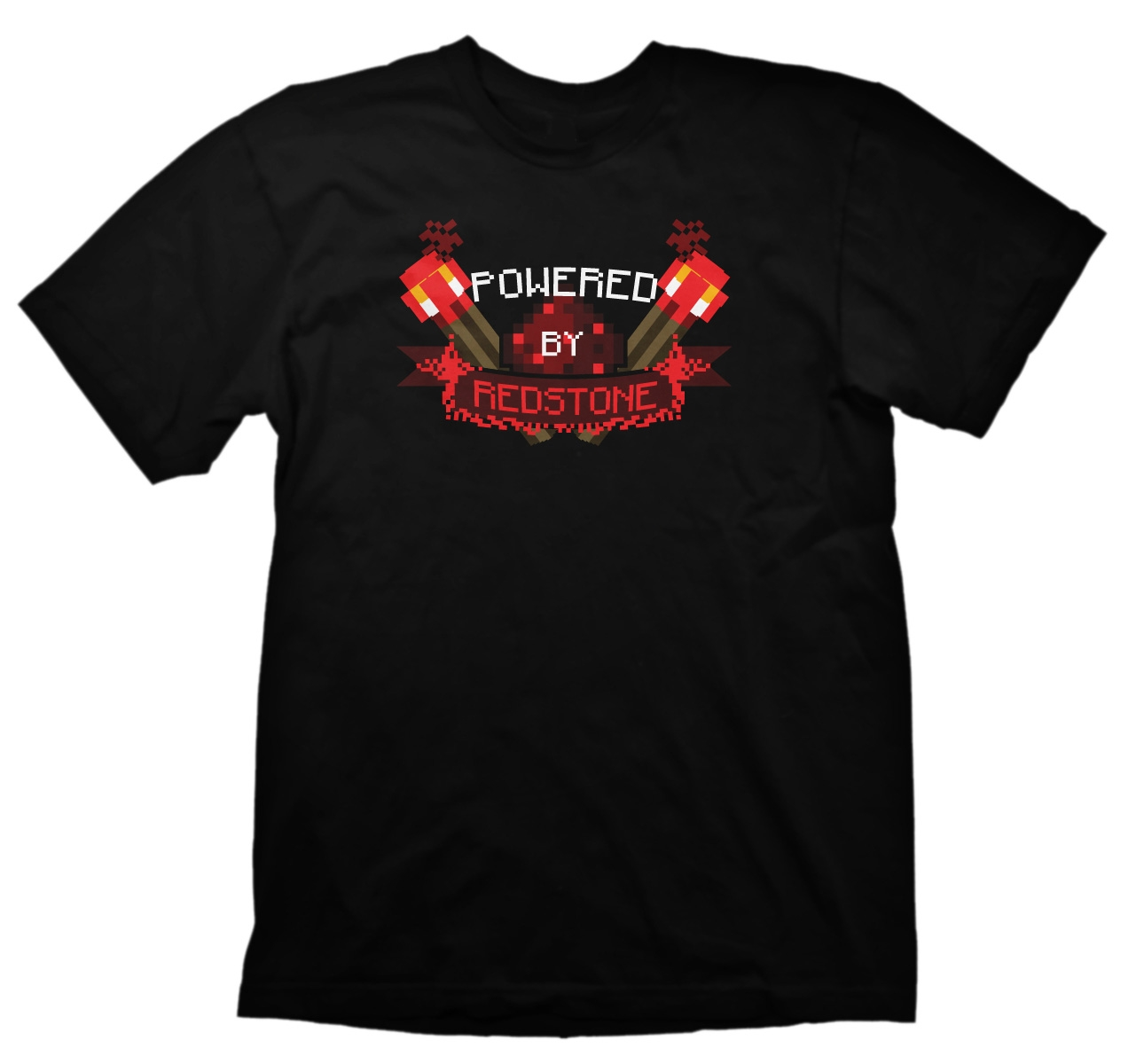 JINX Minecraft Men's Powered By Redstone Basic T-Shirt (Black, X-Large)