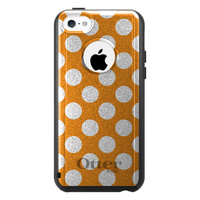DistinctInk™ Custom Black OtterBox Commuter Series Case for Apple iPhone 5C - White & Orange Polka Dots