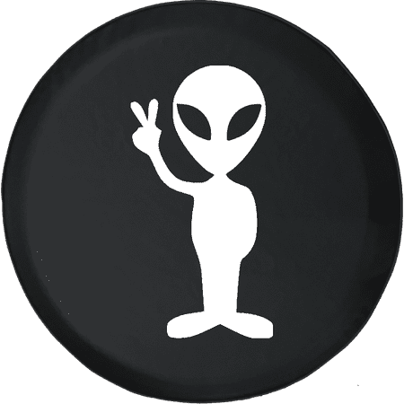 Alien Peace Sign Space Galaxy Adventure Offroad 4x4 Fun Lifted Spare Tire Cover fits Jeep RV & More 28 Inch