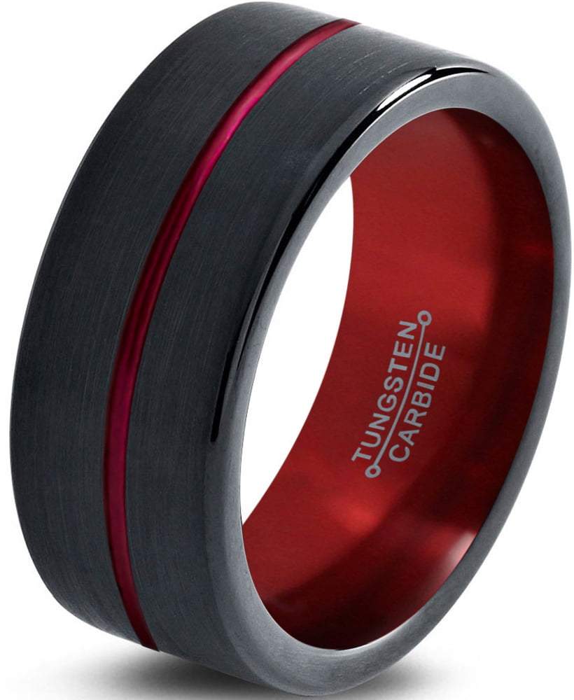 Tungsten Wedding Band Ring 8mm for Men Women Red Black Pipe Cut Brushed Polished Lifetime Guarantee by Charming Jewelers