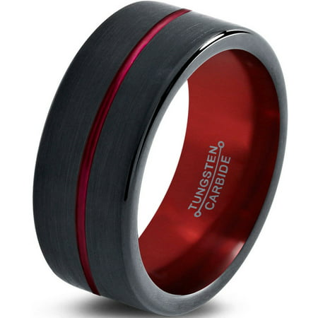 - Charming Jewelers Tungsten Wedding Band Ring 8mm for Men Women Red Black Pipe Cut Brushed Polished Lifetime Guarantee