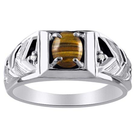Men's Tigers Eye & Diamond Ring White Gold Plated