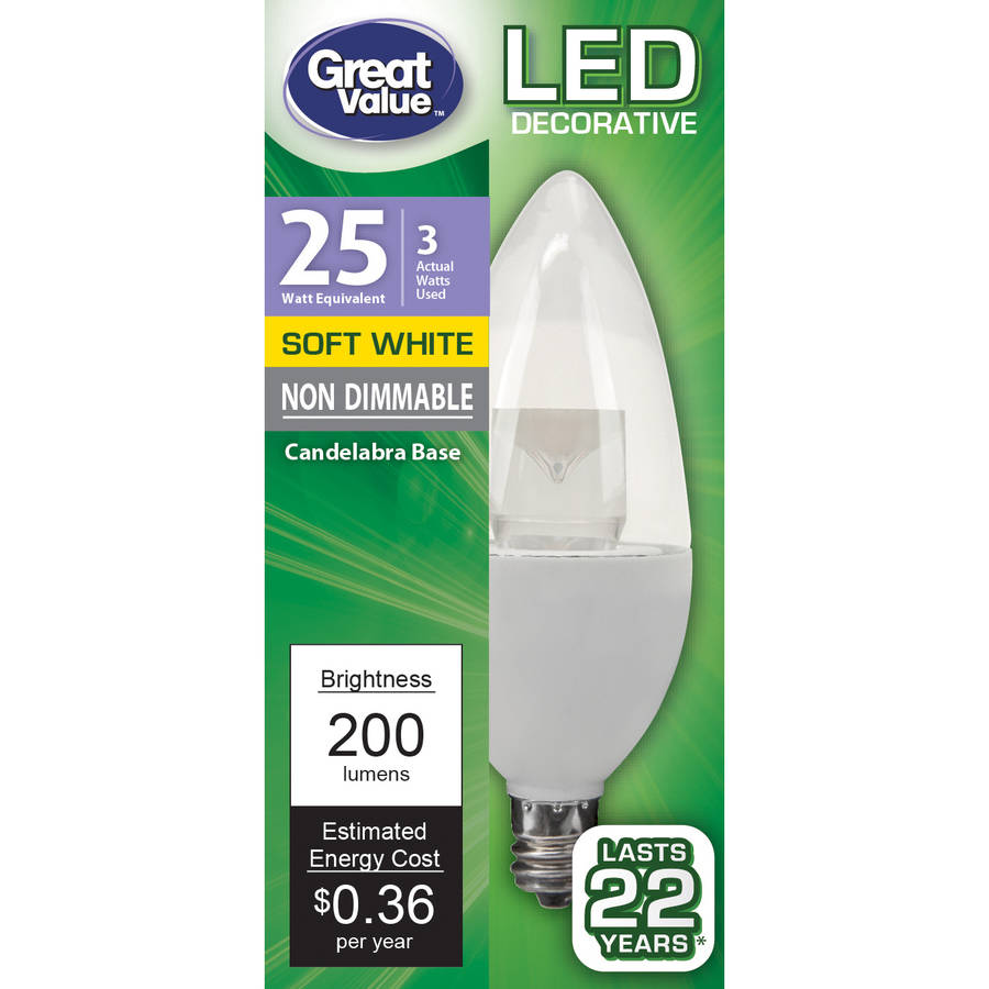 Great Value LED Light Bulb 3W (25 Watt Equivalent), Soft White