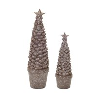 Set of 2 Glittered Gray Table Top Artificial Potted Pine Cone Tree 10.25""