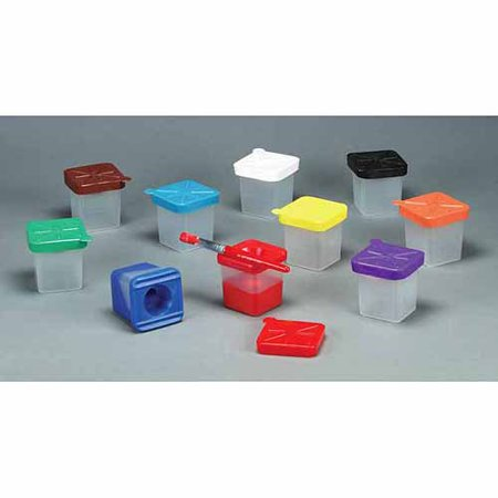 Creativity Street No-Spill Square Cup Plastic Paint Pot Set with Assorted Colored Lids - 3 1/2 inches - Pack of 10 - Assorted