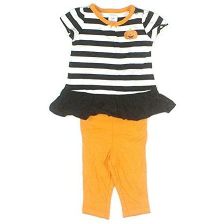 Carter's Baby Girls' 2 Piece Ruffle Stripe Pumpkin Shirt with Orange Leggings