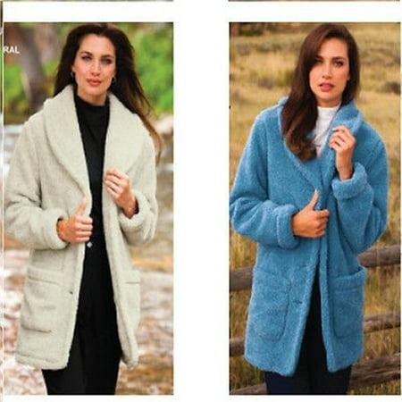 Totes Women's 612292 Berber Fleece Jacket Dusty Blue Large Berber Embroidered Jacket