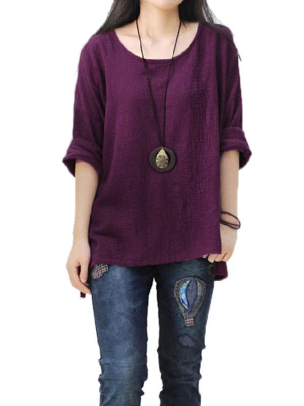 Women Crew Neck Long Sleeve Cotton Baggy Boho T-Shirt Tops Blouse Plus Size