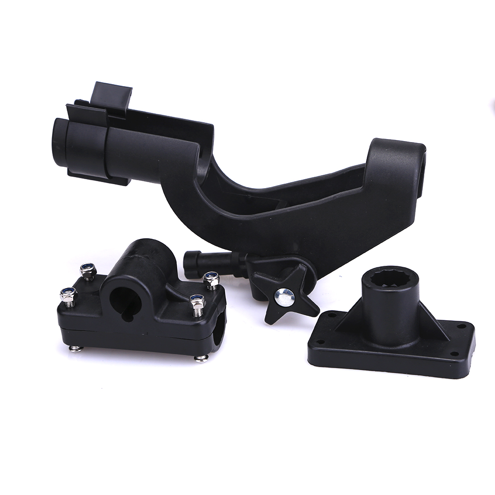 Adjustable Side Rail Mount Kayak Boat Fishing Pole Rod Holder Tackle Rack Kit, Black