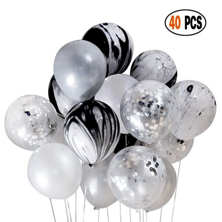 DIvine 40 Pcs Black Silver White Balloons Set, Silver Confetti and Black Agate Marble, Silver and White Latex Balloons for Wedding Baby Showers Festival Ceremony Birthday Party Decoration Backdrop Bl](Marble Balloons)
