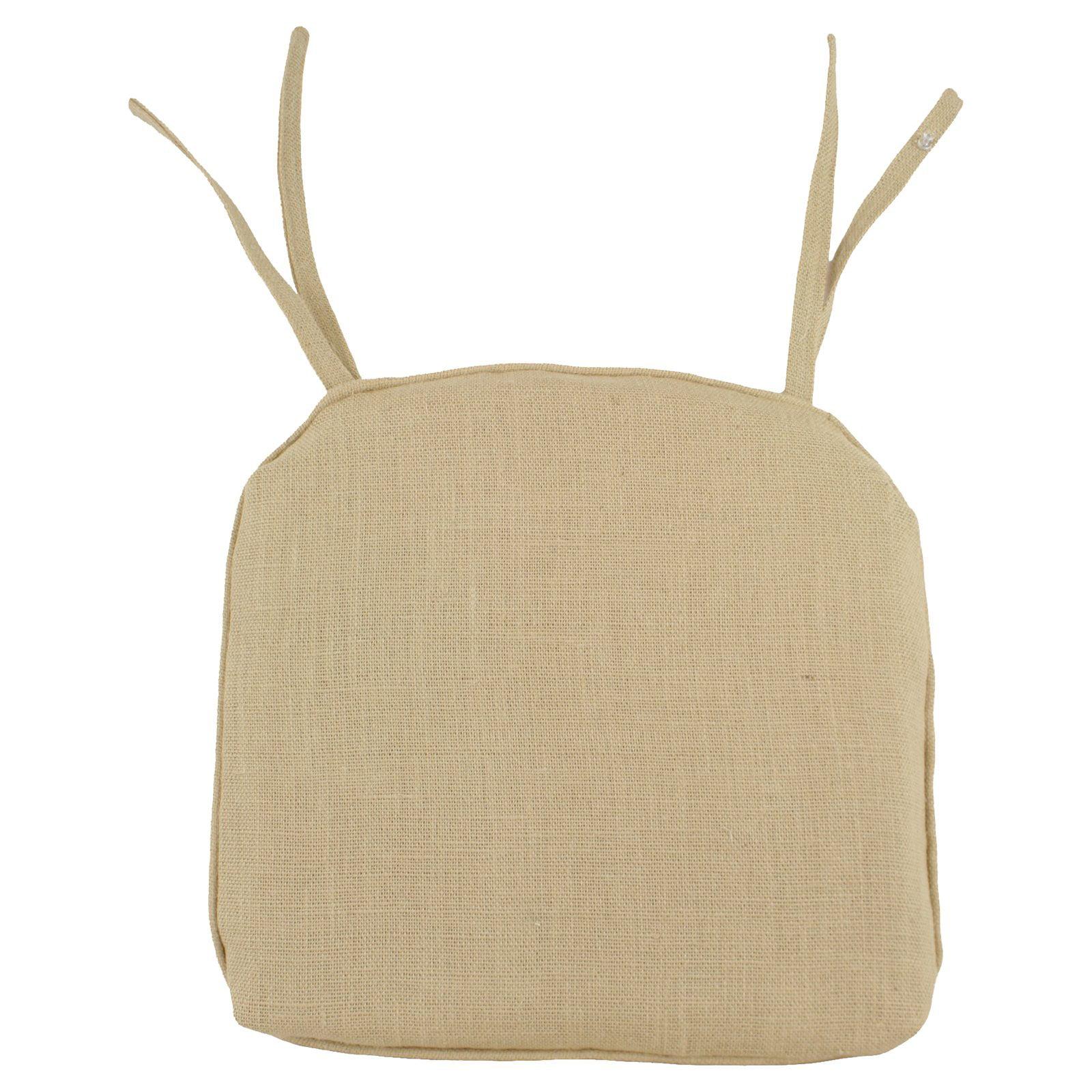 Brite Ideas Living Burlap 17 x 17 in Pleated Foam Seat Cushion