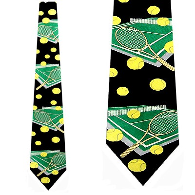 Tennis Courts (Black) Necktie Mens Tie