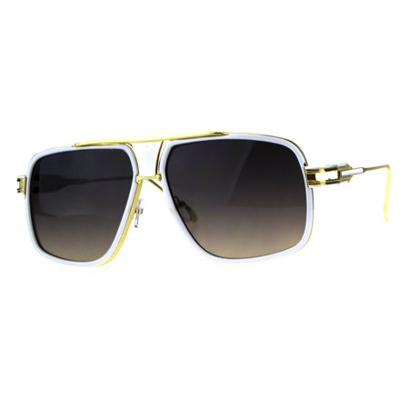 Oversize Luxury Mobster Racer Mens Designer Sunglasses White Gold Smoke ()