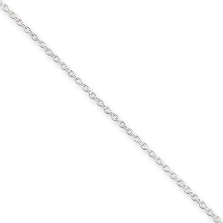 0.5mm, Sterling Silver Oval Rolo Chain Necklace, 20 Inch