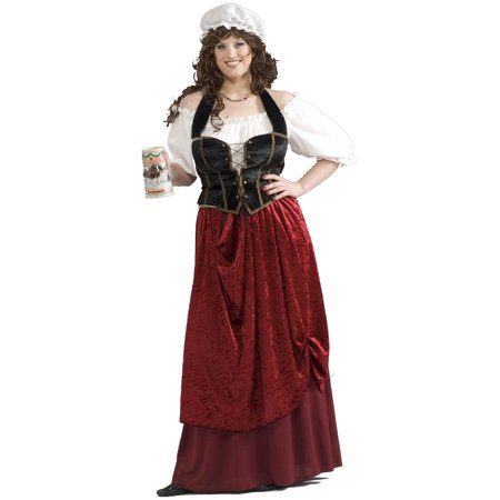 Adults Womens Tavern Wench Medieval Bar Maid Costume X-Large Plus Size 16-22 - French Maid Costumes Plus Size