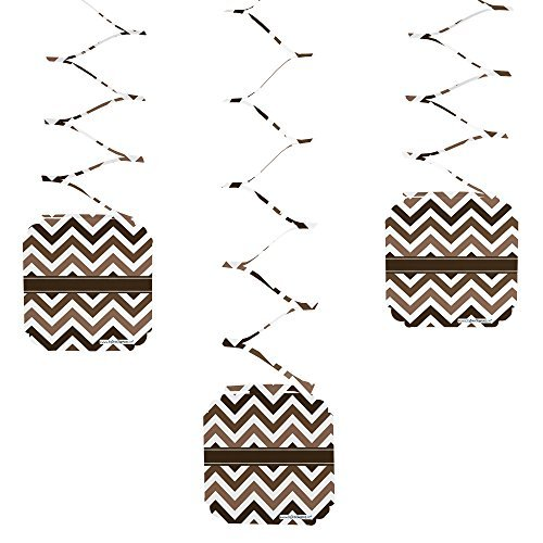 Chevron Brown - Party Hanging Decorations - 6 Count