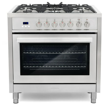 Cosmo Commercial-Style 36 in. 3.8 cu. ft. Single Oven Dual Fuel Range with 8 Function Convection Oven in Stainless (Best Dual Fuel Range 2019)