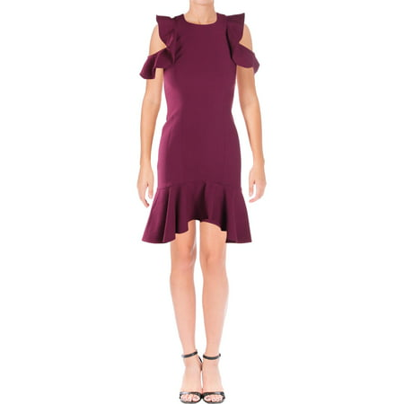 Jaya Apparel Womens Micah Ruffled Knee-Length Cocktail Dress