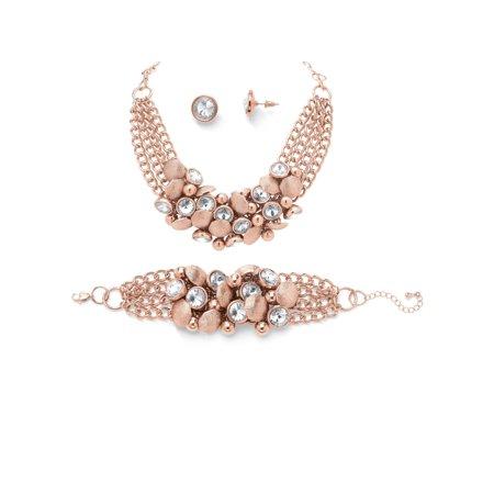 - Bezel-Set Crystal Rose Gold-Plated Collar Necklace, Bracelet and Stud Earrings Set