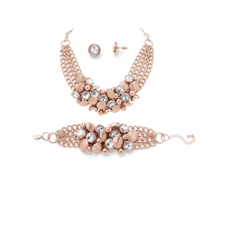 Bezel-Set Crystal Rose Gold-Plated Collar Necklace, Bracelet and Stud Earrings Set (Rose Flowers Necklace Sets)