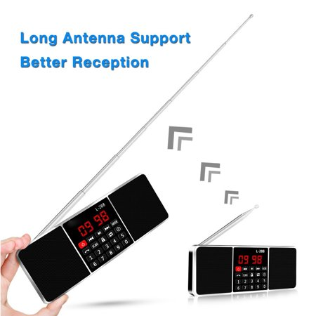 LCD Display Mini Portable Wireless Stereo Super Brass Dual Speaker Headset LONG Telescoping Antenna Radio Music Clock MP3 Player Power Bank USB Disk Micro S D/TF FM Radio AUX