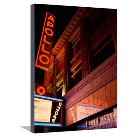 Low Angle View of a Theatre Lit Up at Night, Apollo Theater, Harlem, Manhattan, New York City Stretched Canvas Print Wall Art for $<!---->