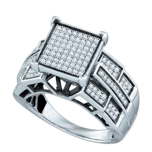 Sterling Silver 0.43ctw Shiny Micro Pave Diamond Square A...