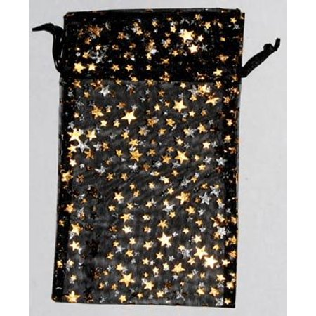 Large Sheer Black Organza Pouch with Gold Stars Treasure Jewelry Bag 4