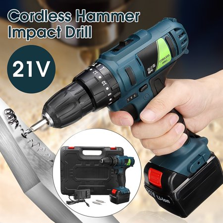 21V 45Nm Cordless Hammer Impact Drill Rechargeable Electric Screwdriver Home Tool Set With 1 Battery (Cordless Rechargeable Hammer)