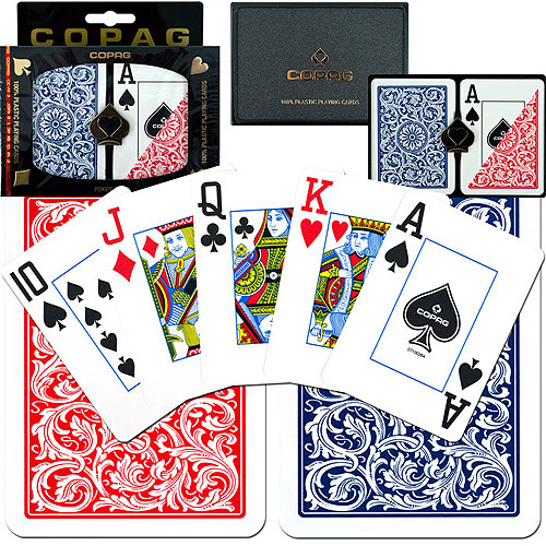 Trademark Poker 2pk Copag Jumbo Index Poker Cards, Red/Blue