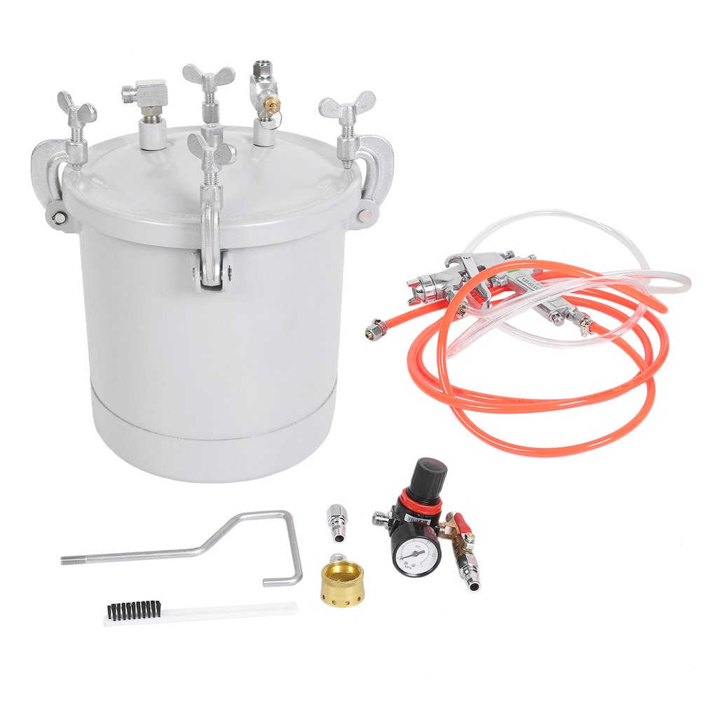 10L Industrial Painting Painter Pot Style Large Capacity High Pressure Air Paint Spray Gun Set With Pressure Gauge Hose, Silver