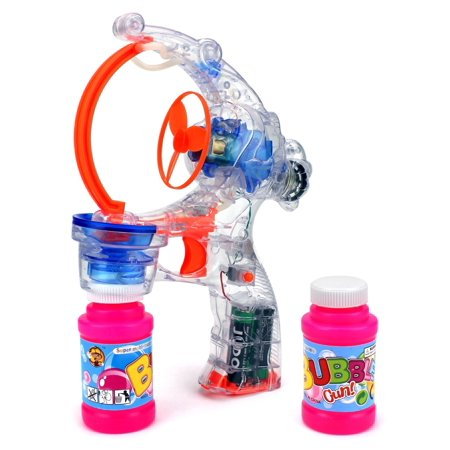Colorful Sea Bubbles (Clear Sea Fish Battery Operated Toy Bubble Blowing Gun w/ 2 Bottles of Bubble)