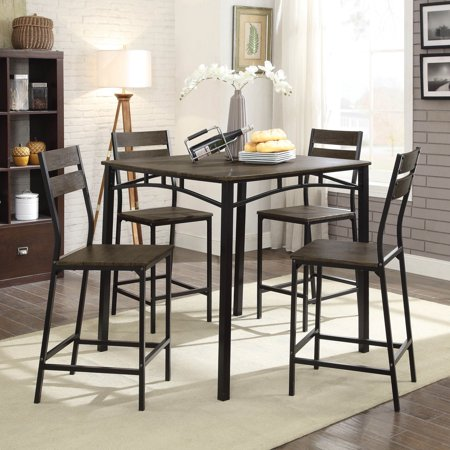 Furniture Of America Trujillo 5 Piece Counter Height Dining Table Set
