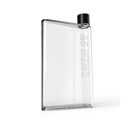 JPGIF Water Bottle Clear Book Portable Paper Pad Water Bottle Flat Drinks Cup BK