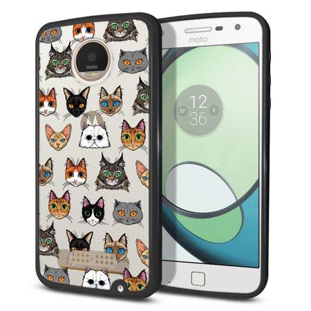 FINCIBO Slim TPU Bumper + Clear Hard Back Cover for Motorola Moto Z Play Droid, Cat Faces