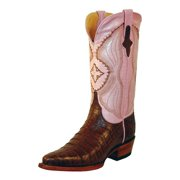 Ferrini Western Boots Womens Caiman Belly Gator Brown Pink 82461-09