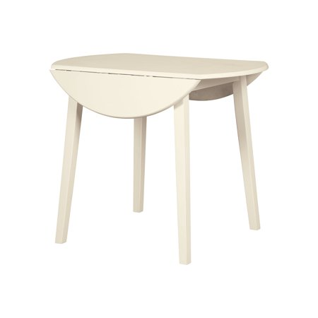 Signature Design By Ashley - Slannery Round Dining Room Drop Leaf Table - Casual Style - White (Drop Leave Dining Table)