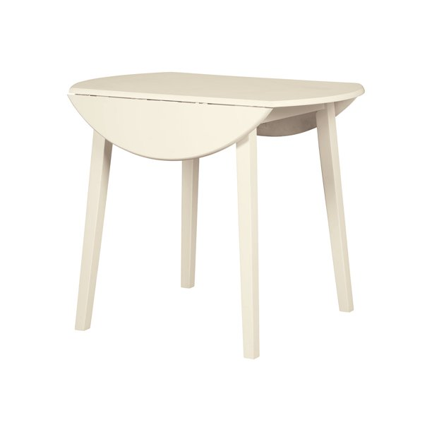 Signature Design By Ashley Slannery Round Dining Room Drop Leaf Table Casual Style White Walmart Com Walmart Com