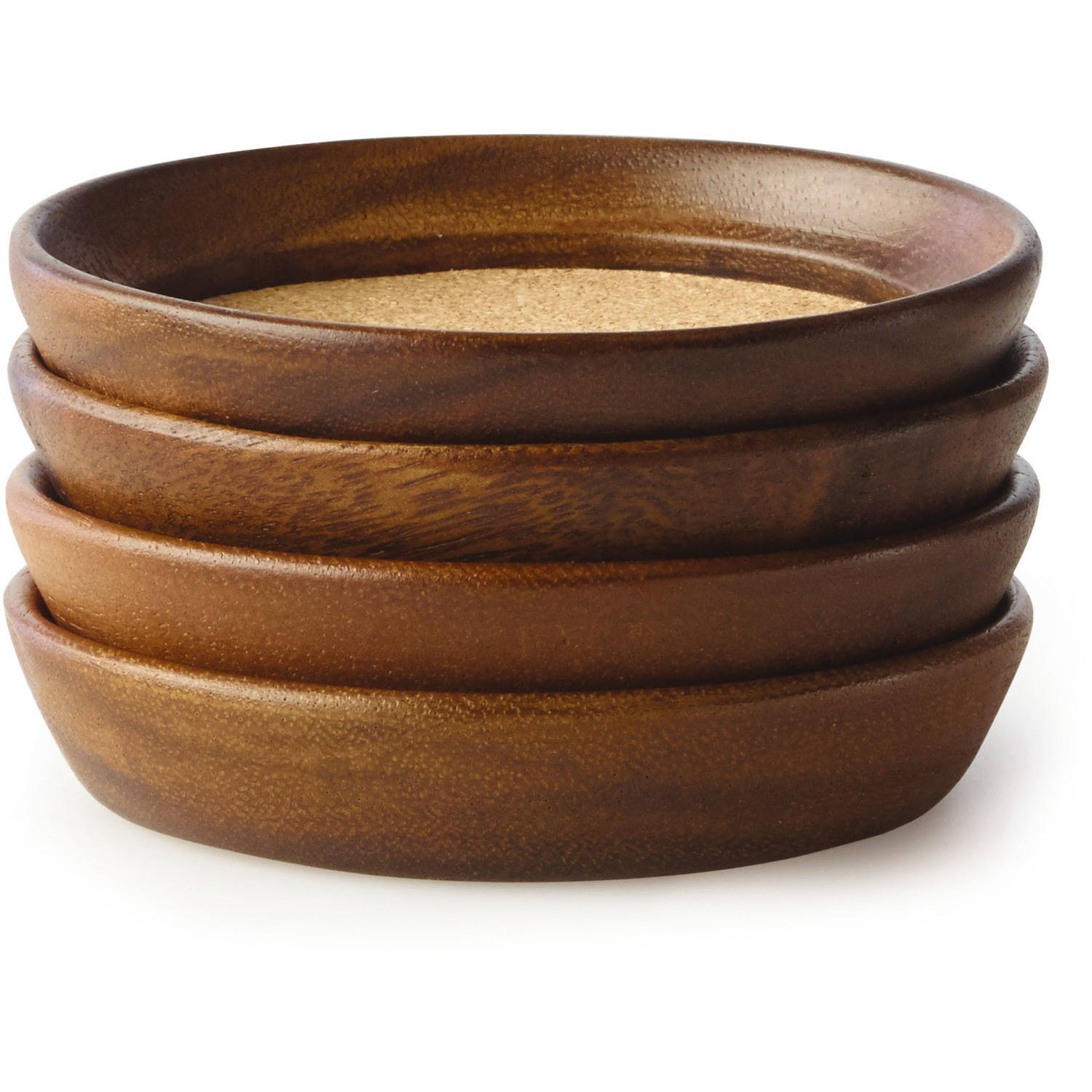 Kamenstein 4-Piece Acacia Wood and Cork Coaster Set