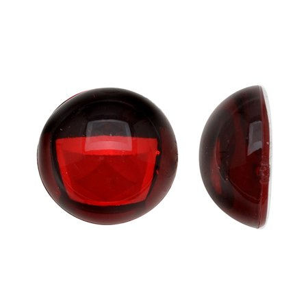 Vintage Lucite Plastic Round Domed Cabochon - Ruby Red / Foiled 15mm