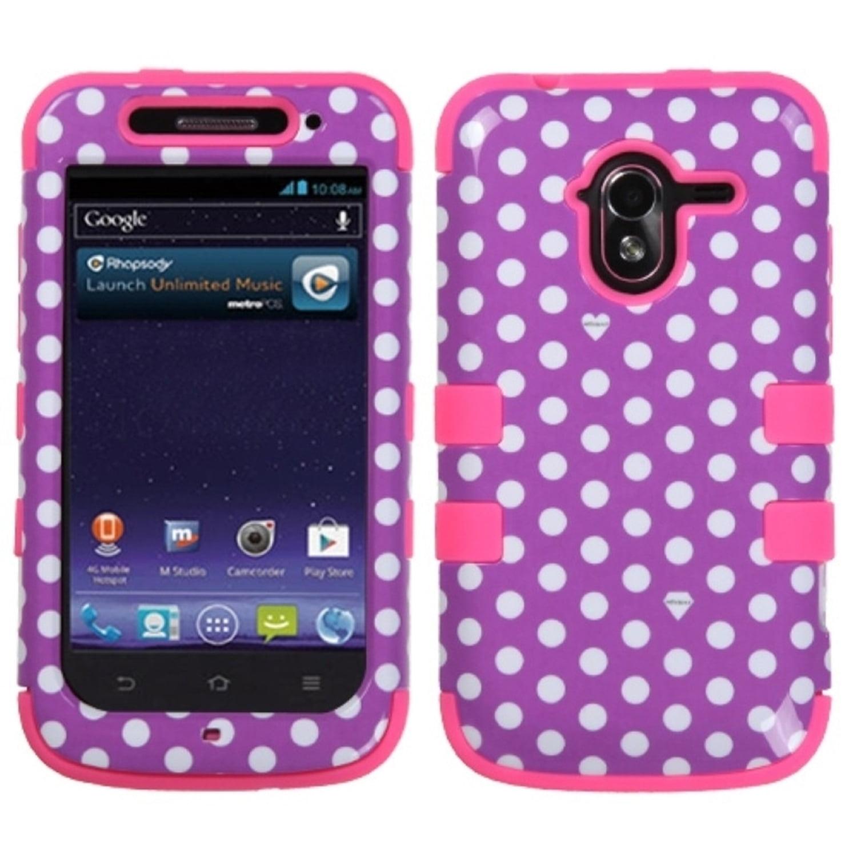 Insten Dots Purple white Electric Pink TUFF Hybrid Rugged Hard Shockproof Phone Case For ZTE N9120 Avid 4G