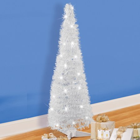 Lighted LED White Pop Up Christmas Tree with Timer - Easy Storage During Off Season ()
